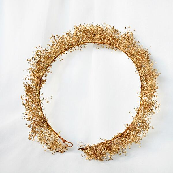 gold dried flower crown