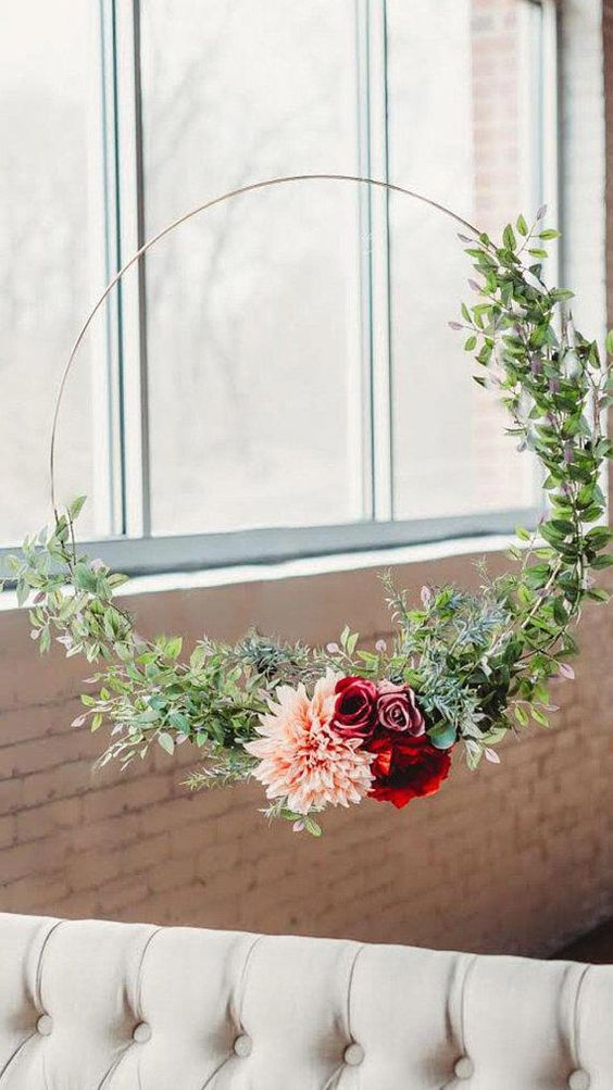 bridal shower gold hoop wreaths