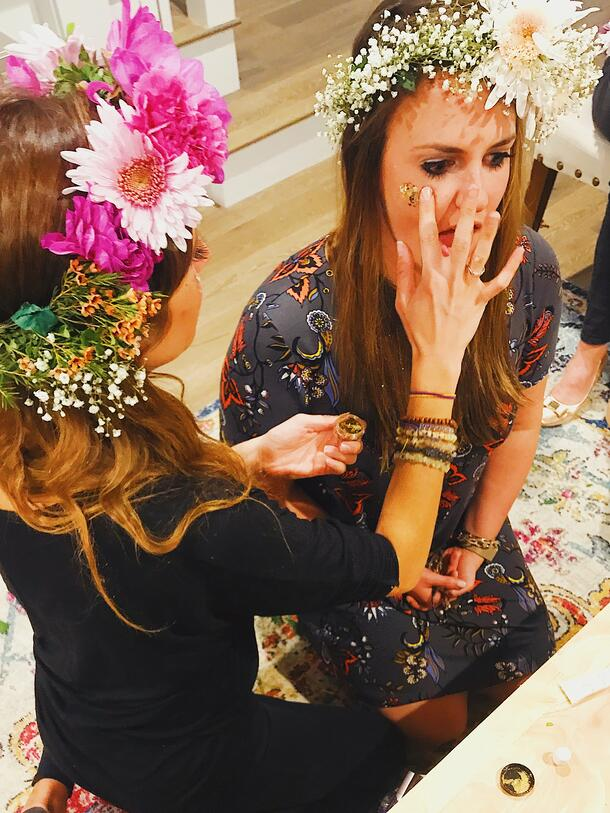 glitter and flower crown bachelorette party