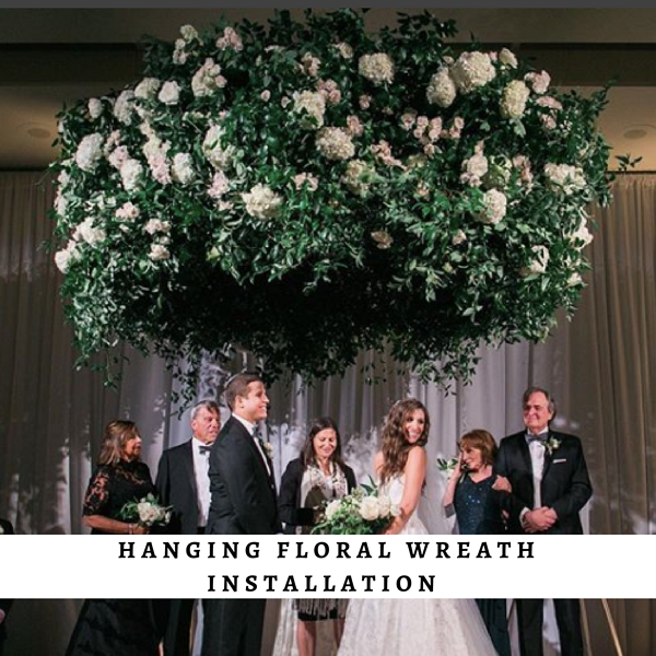 Hanging floral wreath installation