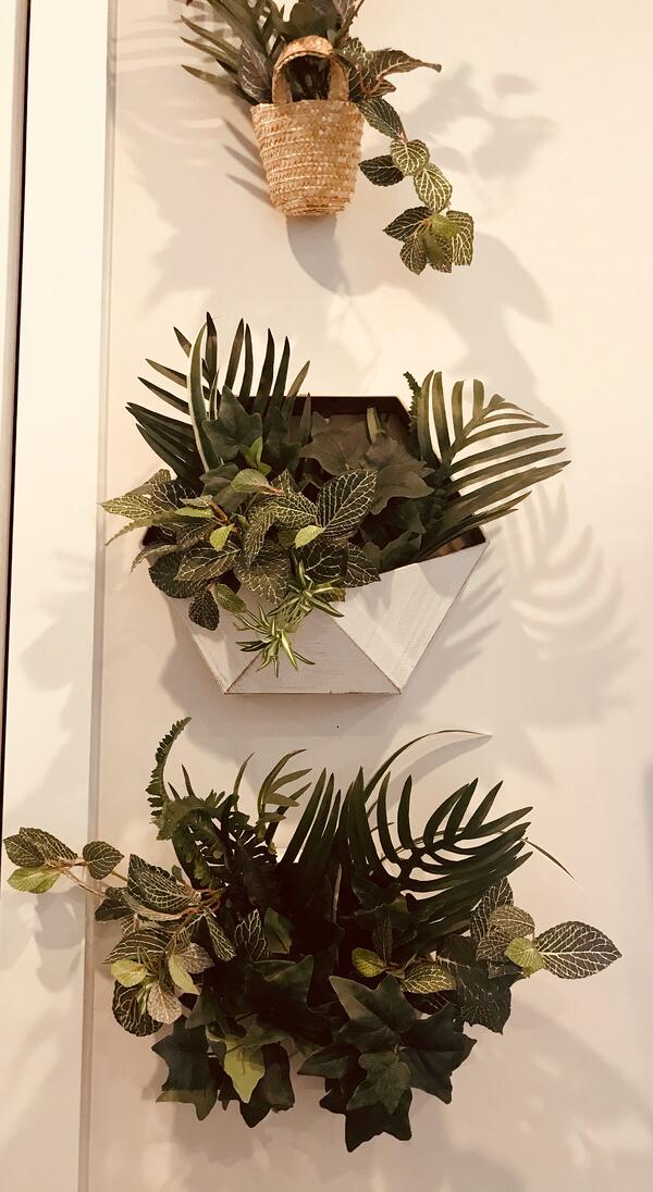 silk greenery wall planters