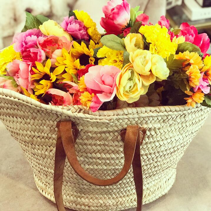 Flower crowns in a basket