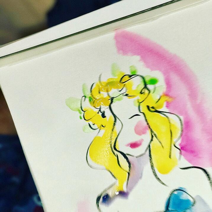 Flower crown girl painting