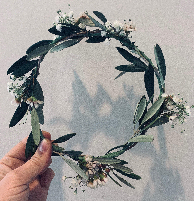 greenery flower crown with wax flower