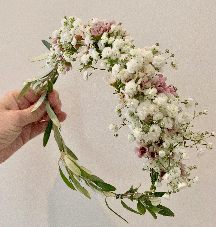 baby's breath flower girl flower crown