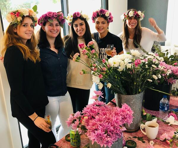 flower crown workshop for an austin bachelorette party