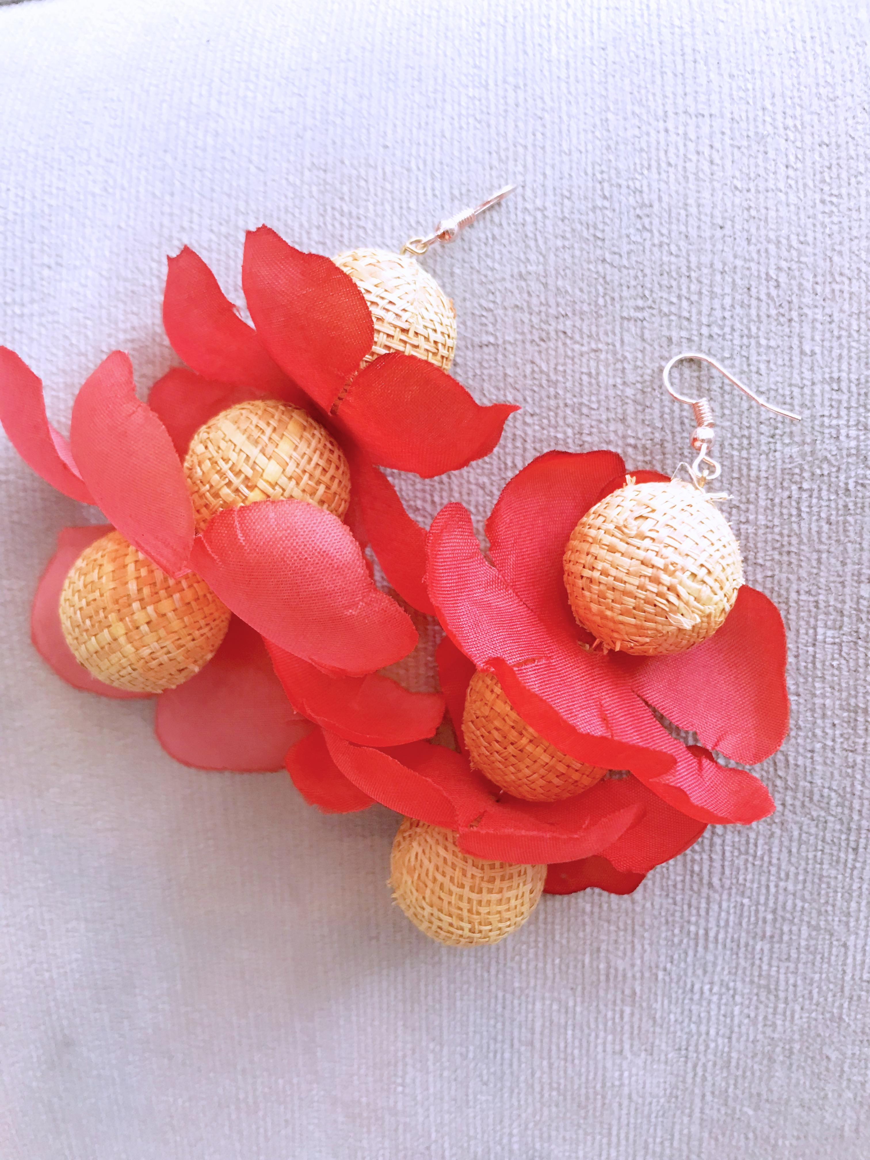 straw flower earrings