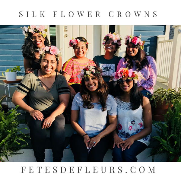 Silk Flower Crowns for a bachelorette party