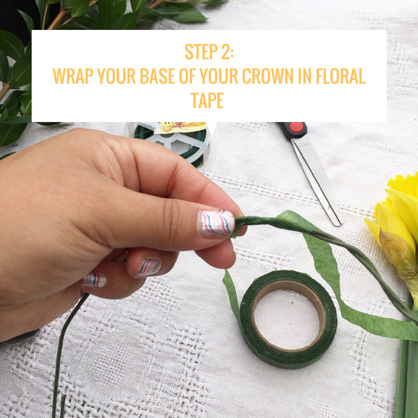 Step 2_Wrap your base of your crown in floral tape