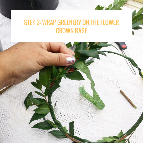 Step 3_ Wrap Greenery on the flower crown base