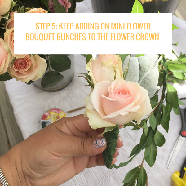 Step 5_ Keep adding on mini flower bouquet bunches to the flower crown