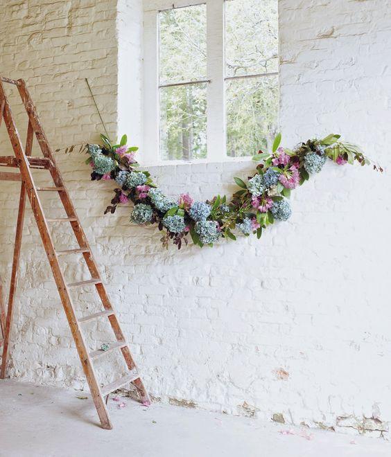 floral garland for bridal shower decor