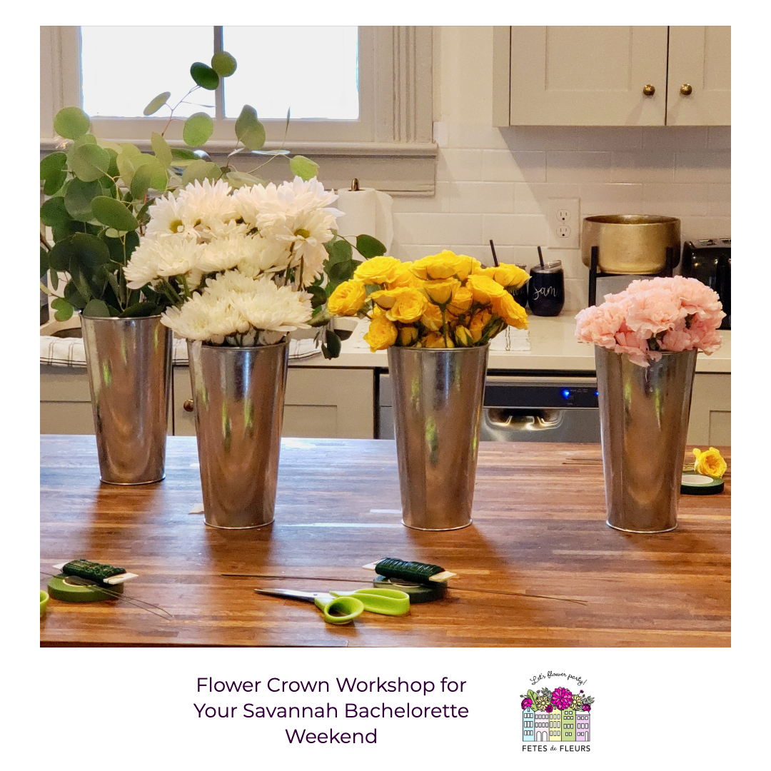 flower crown workshop for your savannah bachelorette party weekend