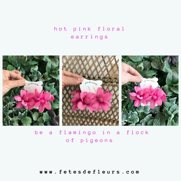 hot pink floral earrings