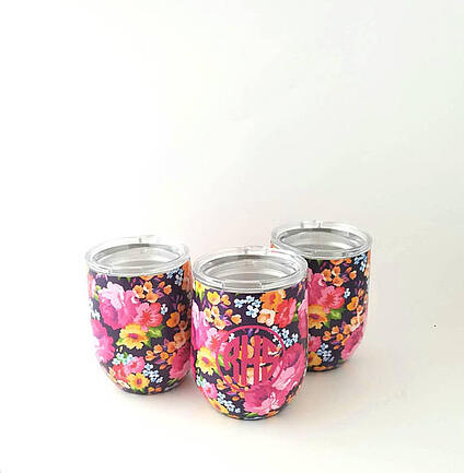 floral wine glass tumbler