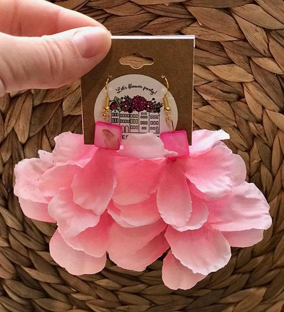 pink flower petal earrings