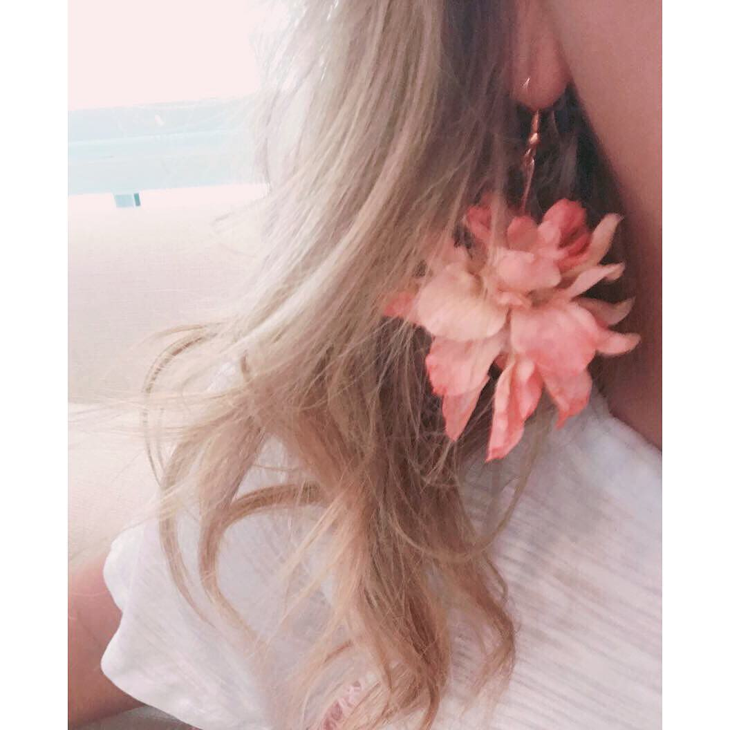 peach flower petal earrings