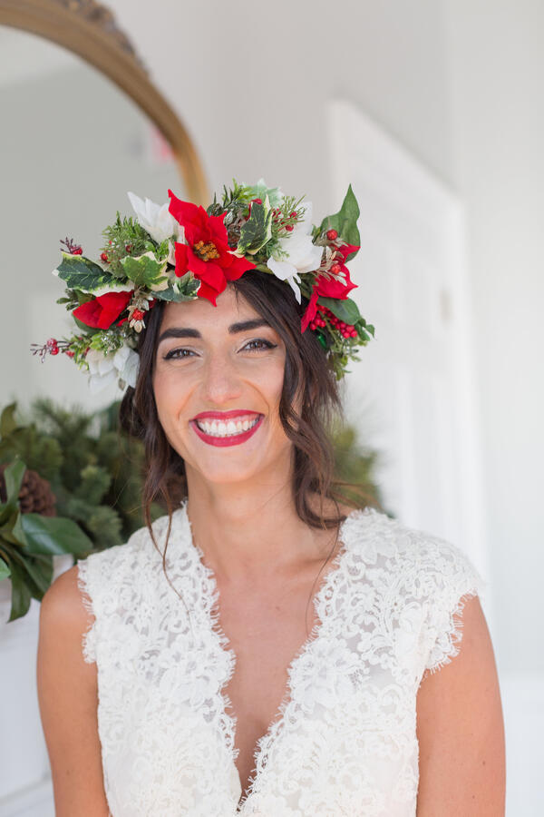 red white and green christmas flower crown