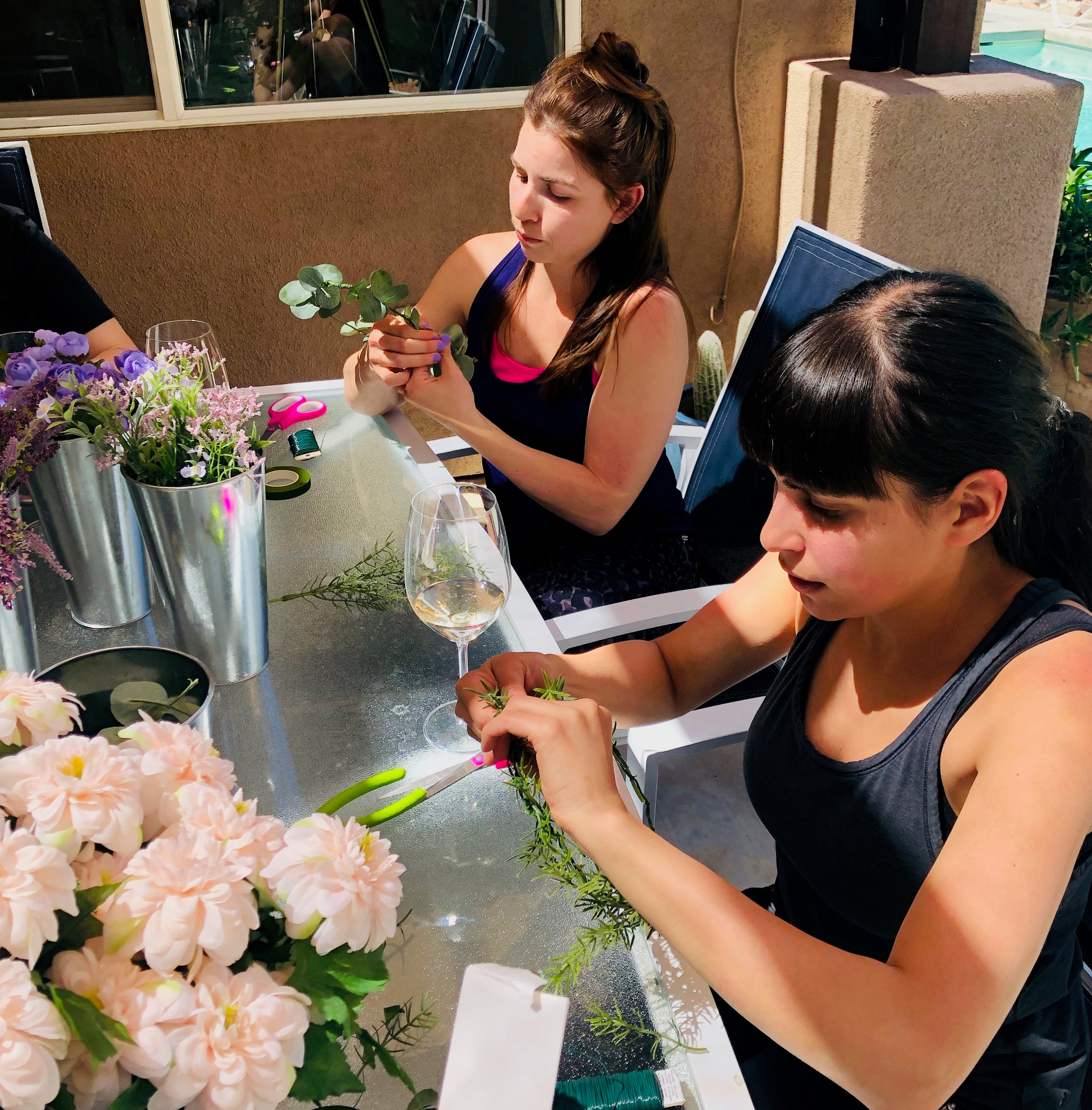 making flower crowns for a palm springs bachelorette party