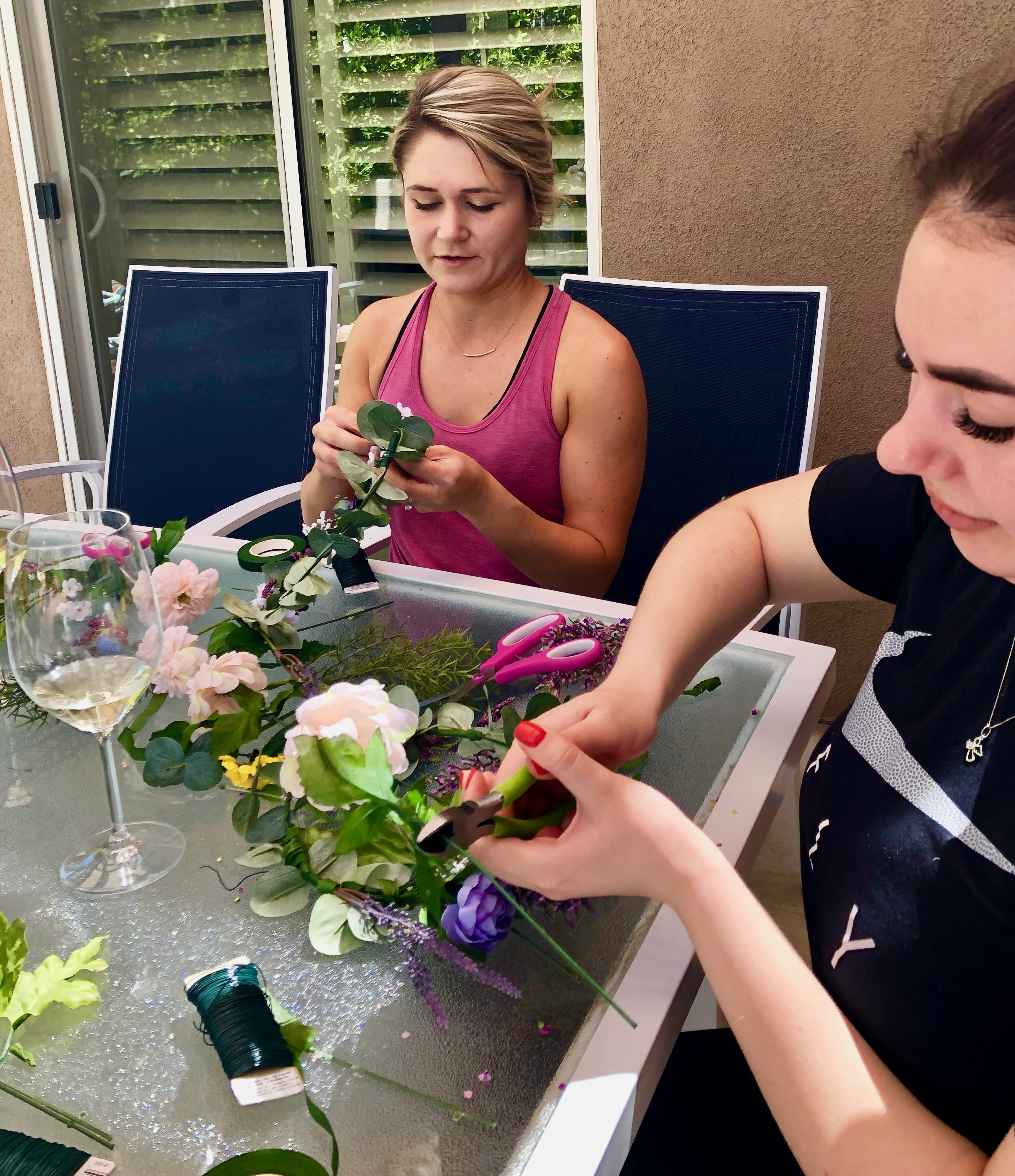 flower crown workshop for a palm springs bachelorette party
