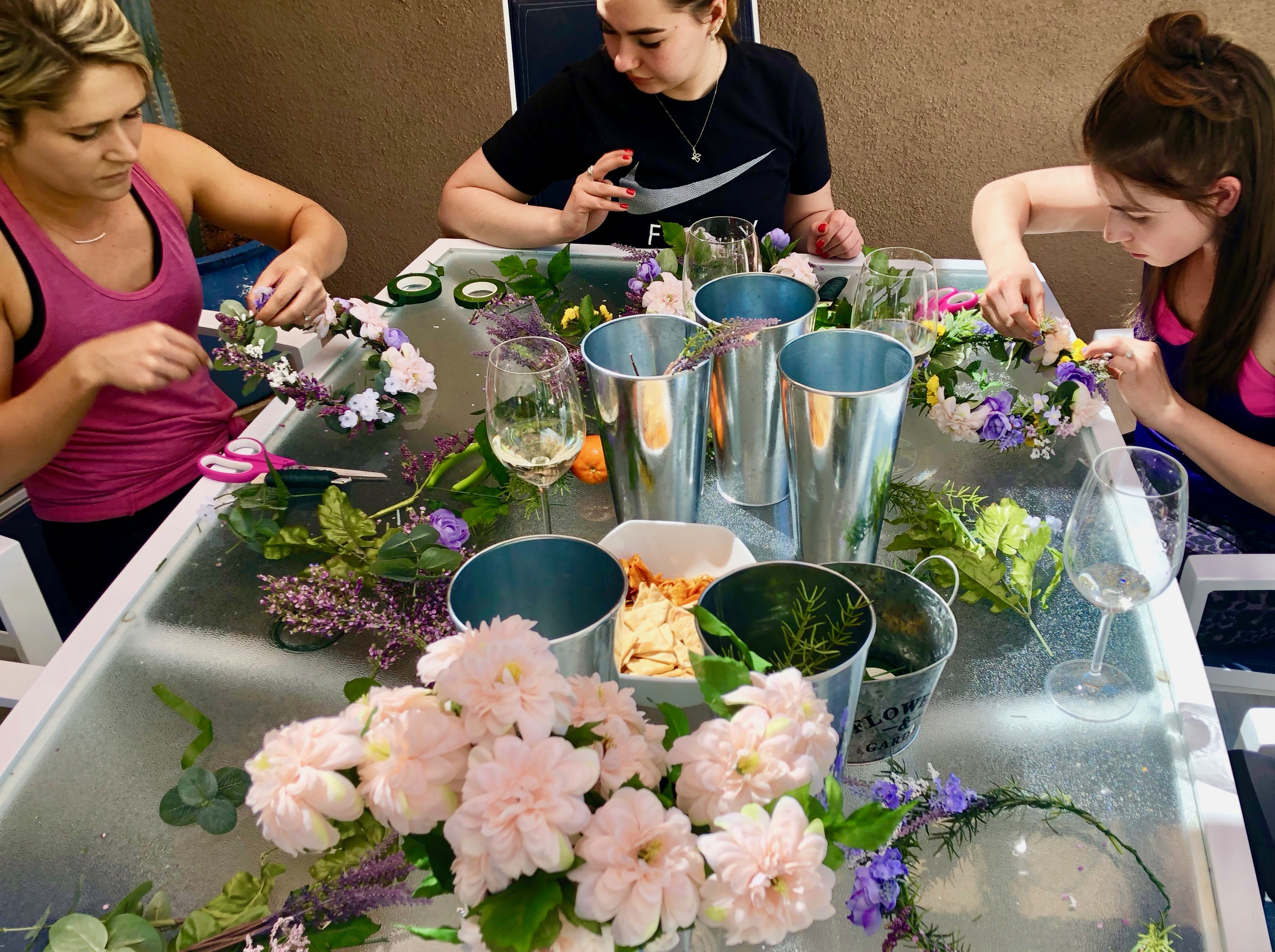 DIY flower crowns for a bachelorette party in Palm Springs