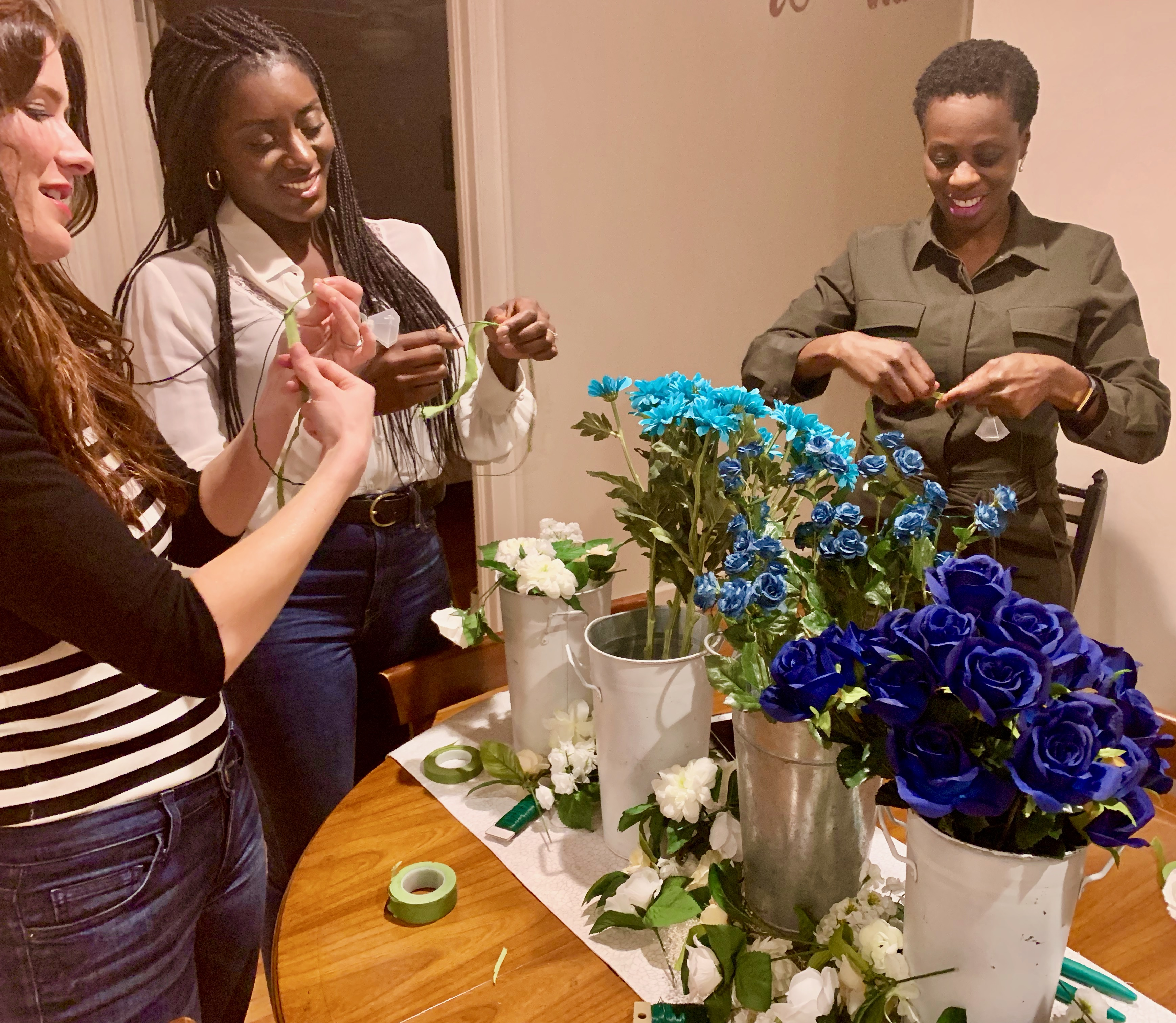 flower crown workshop for a bachelorette party