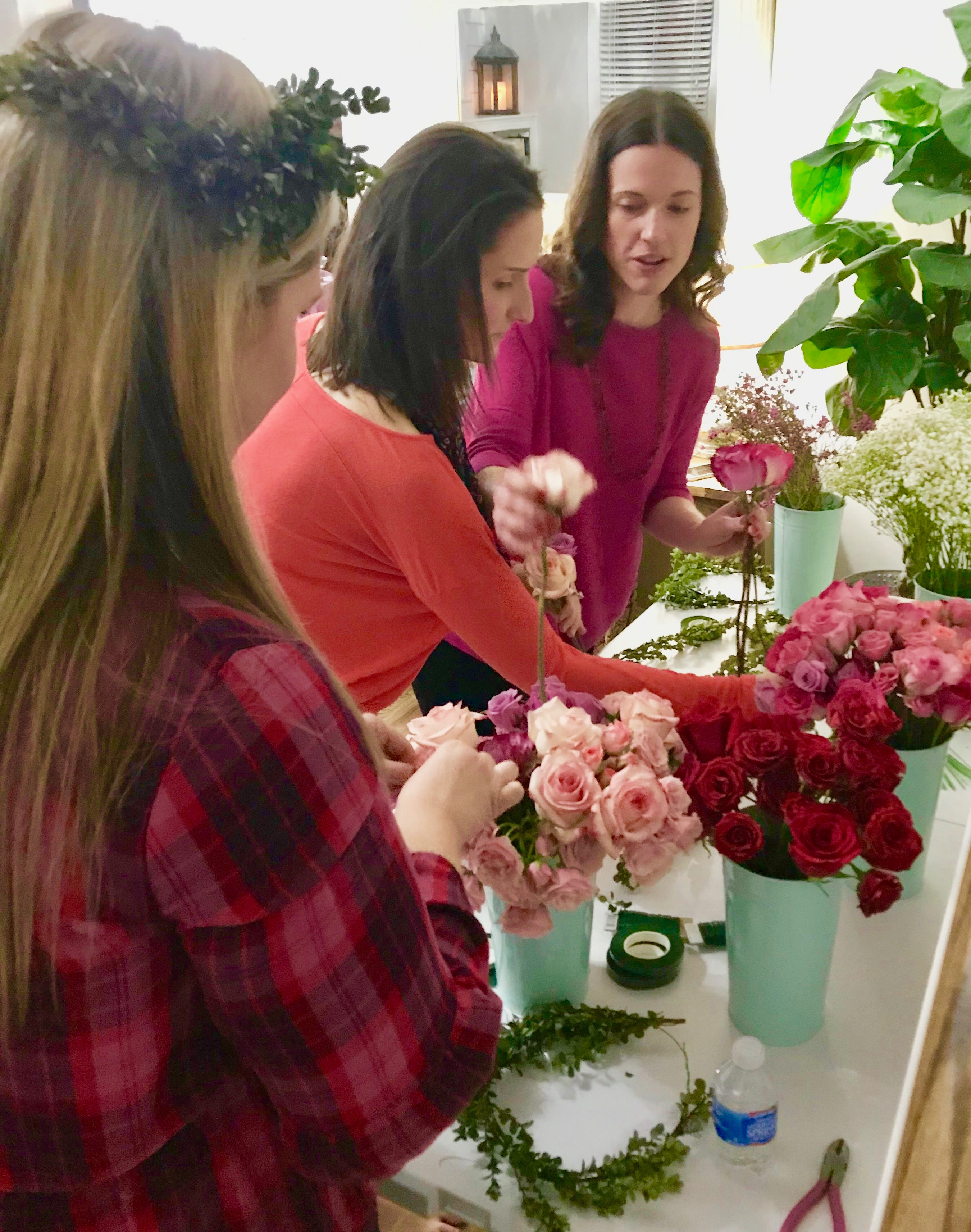 galentines day party with flower crowns