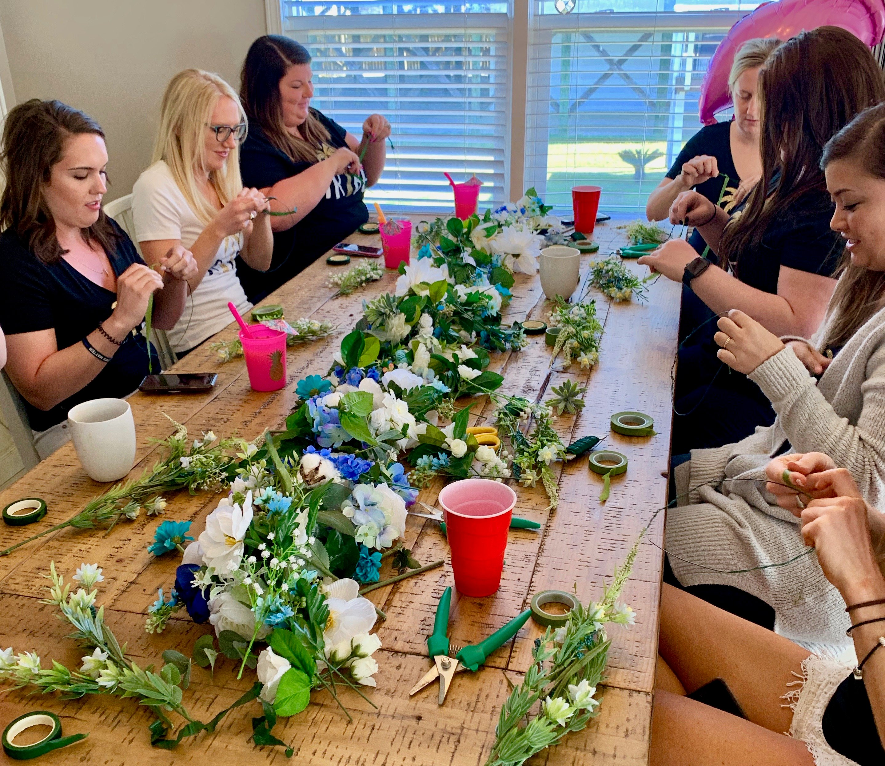 flower crown workshop for a beach bachelorette party