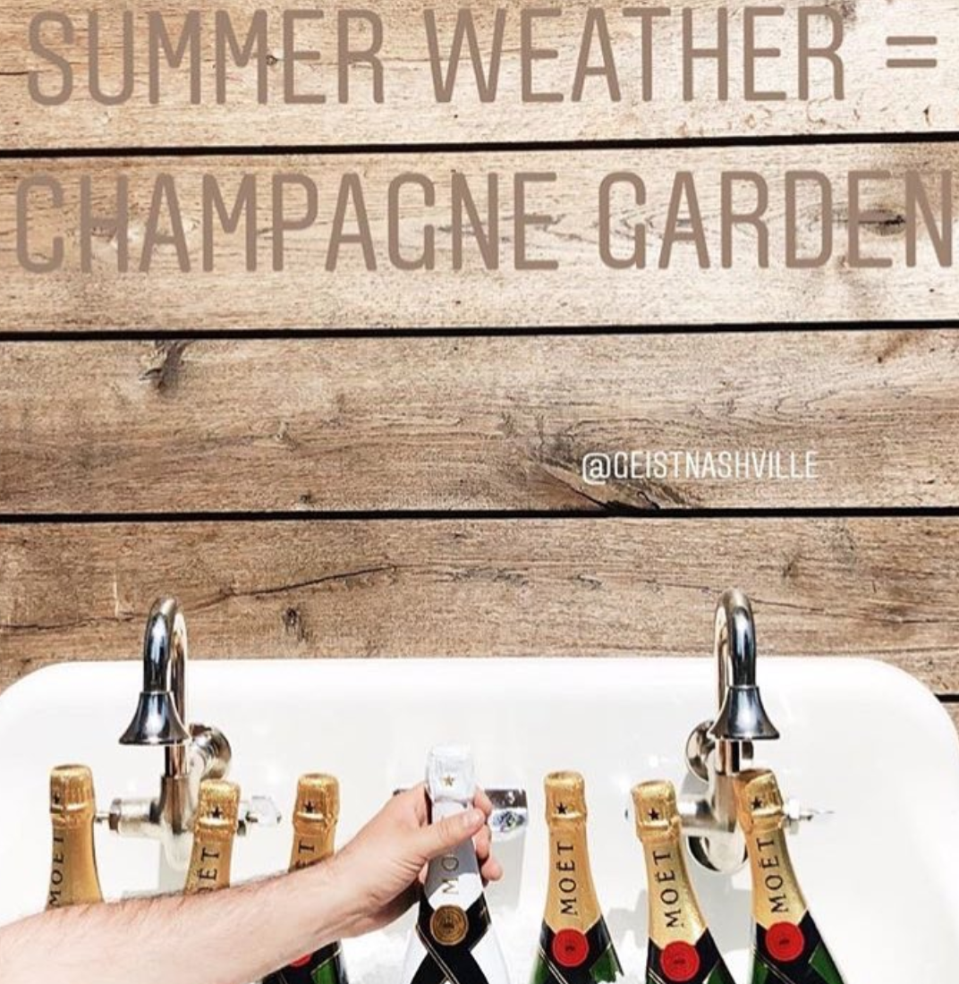 where to drink champagne outside for your nashville bachelorette party