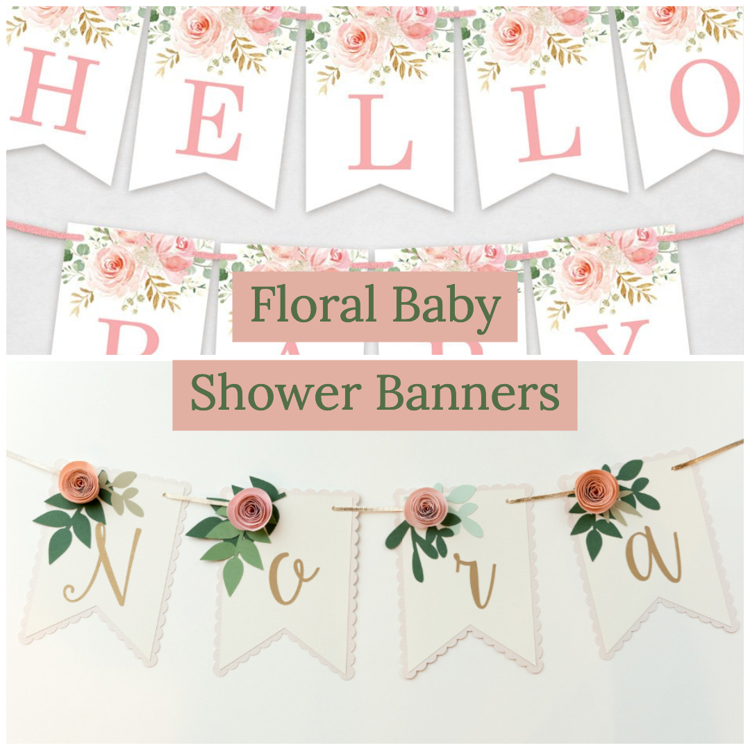 floral baby shower banners