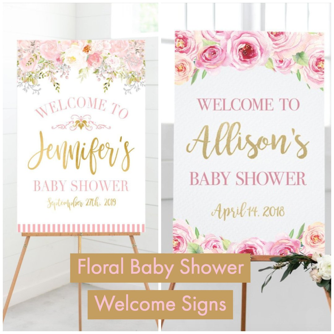 floral baby shower welcome signs
