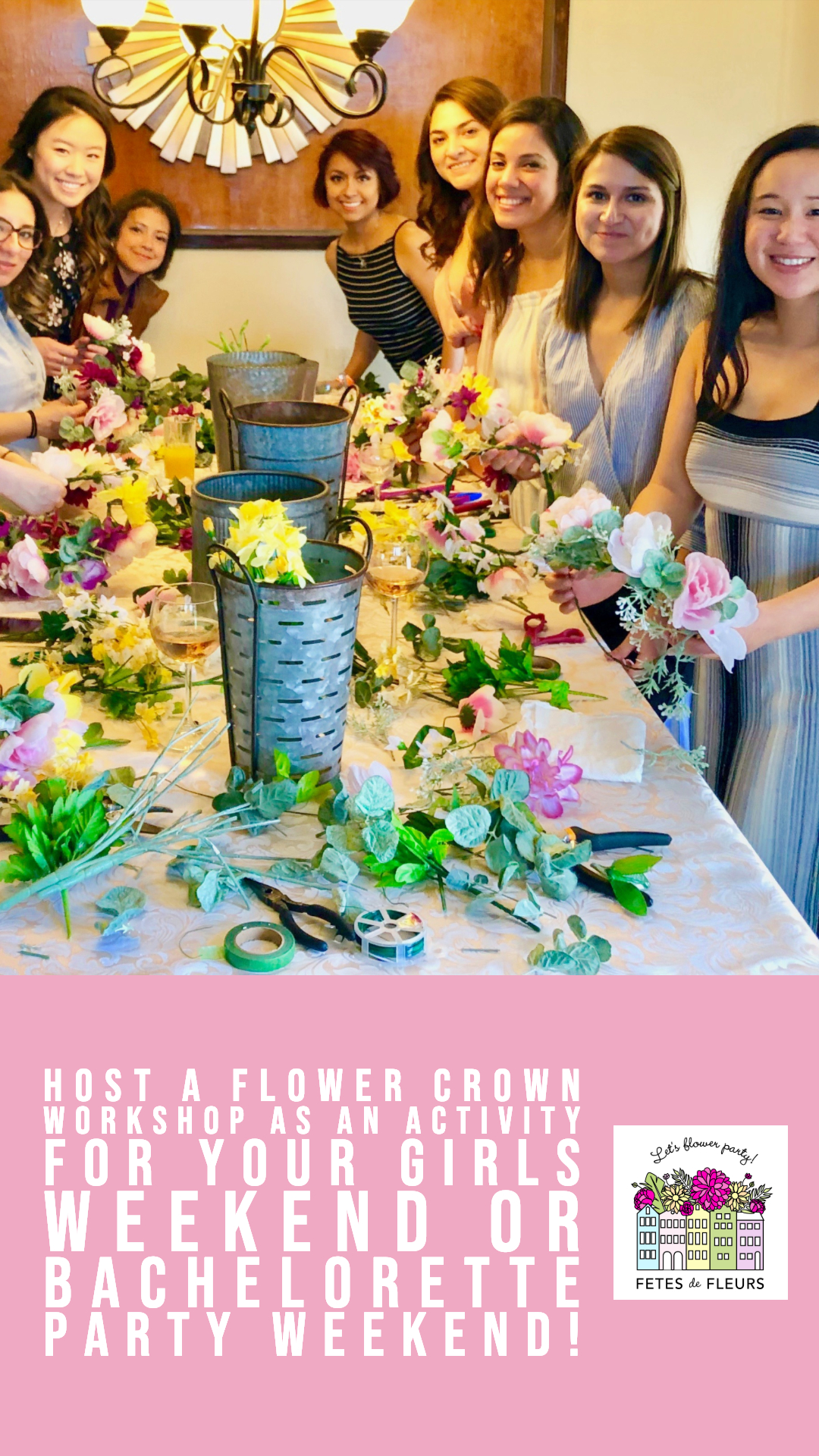 flower crown workshop as part of your bachelorette party weekend or girls weekend