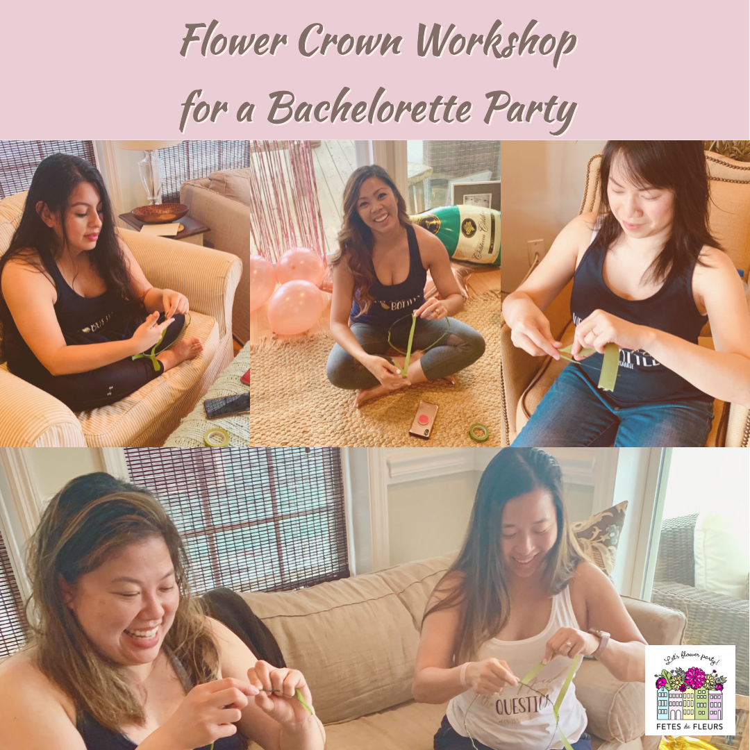 flower crown workshop for a bachelorette party in charleston sc