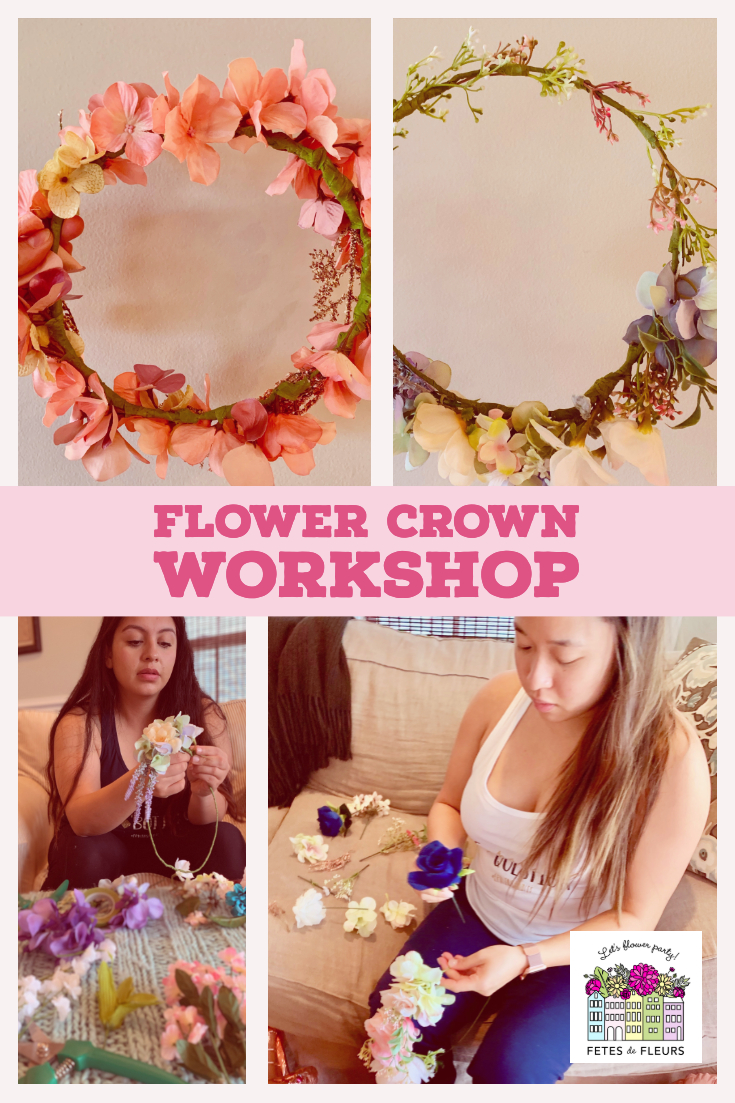 flower crown workshop for a charleston bachelorette party